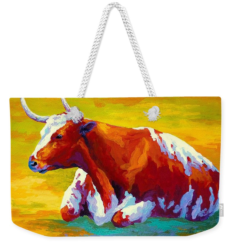 Western Weekender Tote Bag featuring the painting Longhorn Cow by Marion Rose
