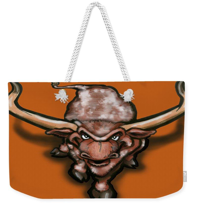Longhorn Weekender Tote Bag featuring the greeting card Longhorn by Kevin Middleton