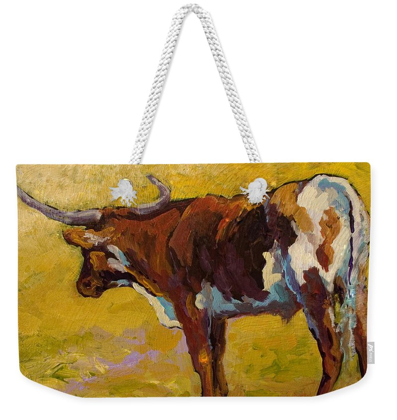 Longhorn Weekender Tote Bag featuring the painting Longhorn Study by Marion Rose