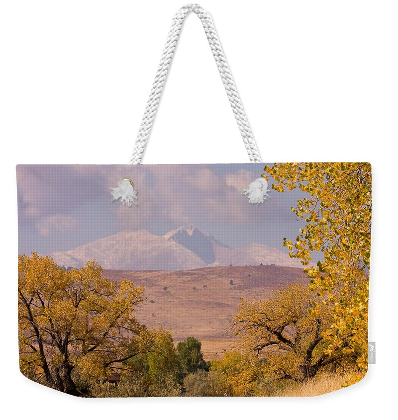 Twin Peaks Weekender Tote Bag featuring the photograph Longs Peak Diamond Autumn Shadow by James BO Insogna