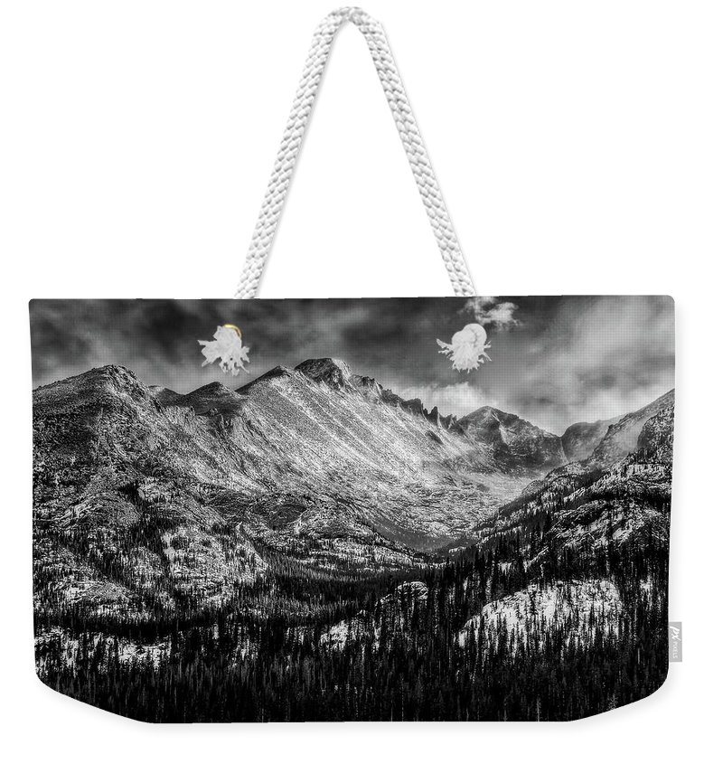 Longs Peak Weekender Tote Bag featuring the photograph Longs Peak Rocky Mountain National Park Black And White by Ken Smith