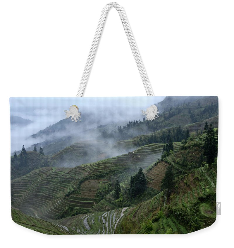 Asia Weekender Tote Bag featuring the photograph Longsheng Rice Terraces by Michele Burgess