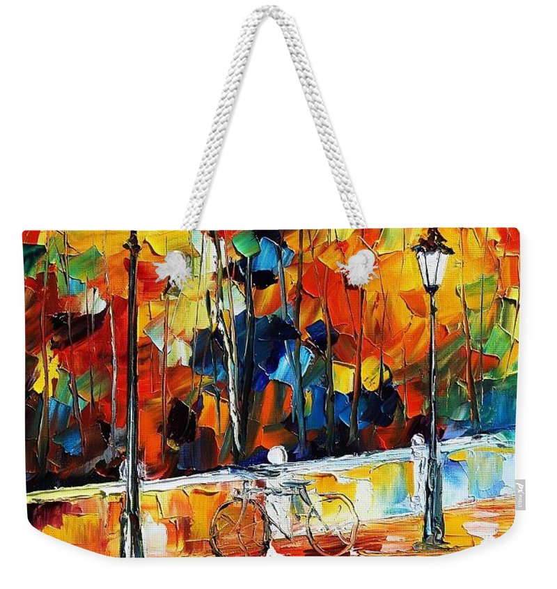 Afremov Weekender Tote Bag featuring the painting Lonley Bicycle by Leonid Afremov