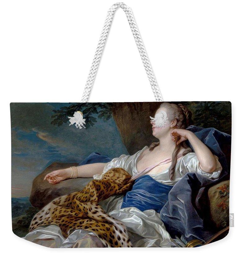 Girl Weekender Tote Bag featuring the painting Loo, Louis-michel Van Tolon, 1707 - Paris, 1771 Diana In A Landscape 1739 by LOO LOUIS-MICHEL VAN Tolon