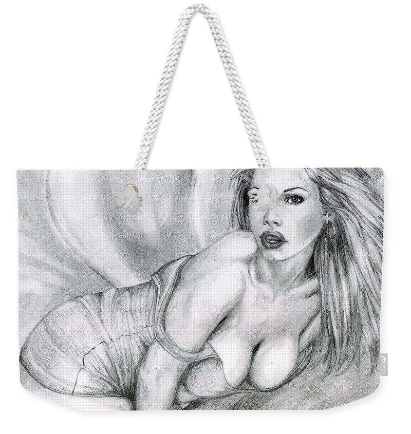 Model Weekender Tote Bag featuring the drawing Look At Me In The Eyes by Alban Dizdari