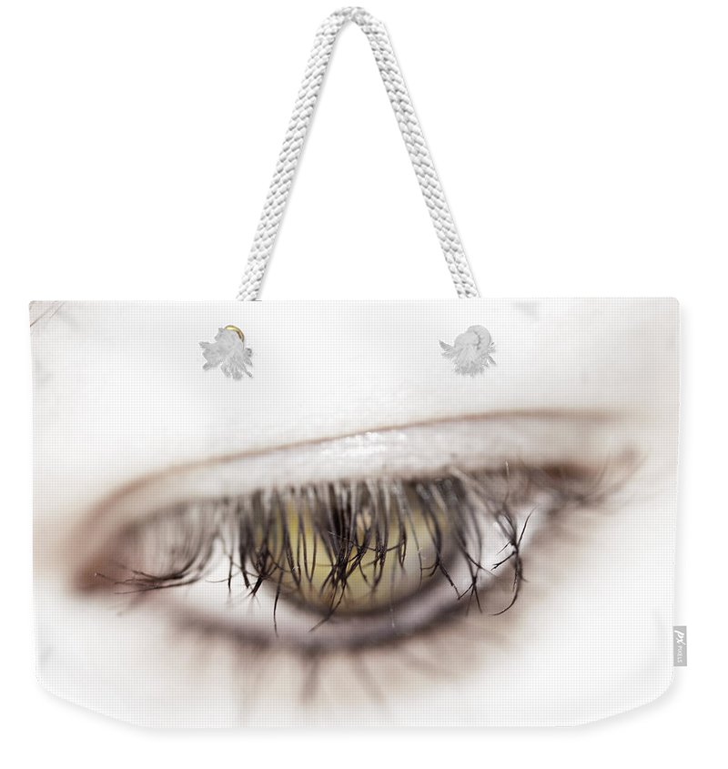 Eye Weekender Tote Bag featuring the photograph Look Away by Kelly Jade King