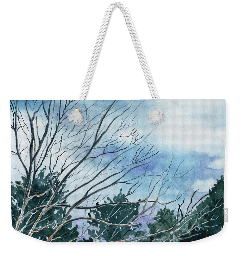 Watercolor Landscape Trees Sky Clouds Blue Weekender Tote Bag featuring the painting Look To The Sky by Brenda Owen