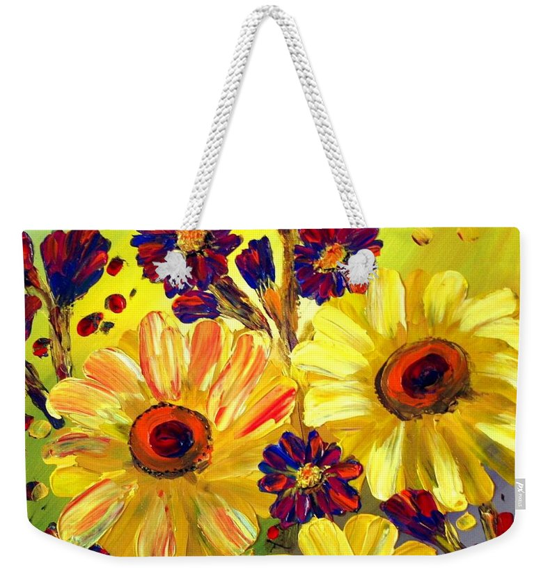 Flowers Weekender Tote Bag featuring the painting Looking At Sun by Luiza Vizoli