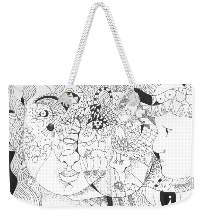 Kindness Weekender Tote Bag featuring the drawing Looking for Kindness by Helena Tiainen
