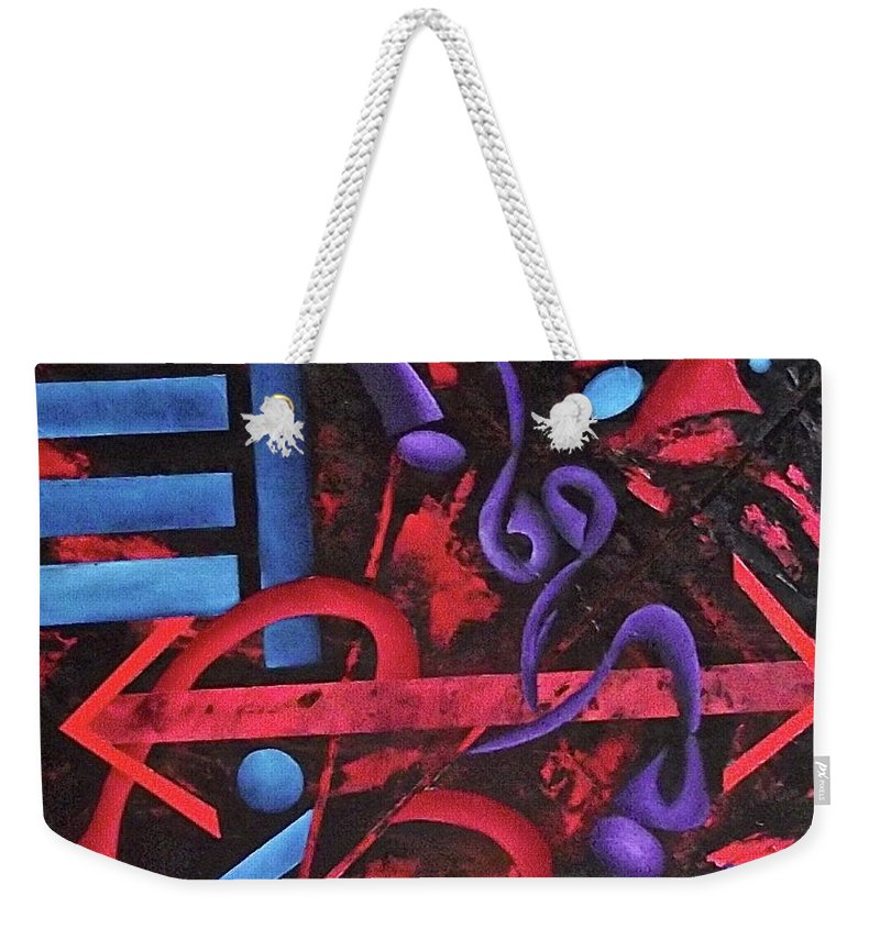 Weekender Tote Bag featuring the painting Looking for meaning by Ara Elena