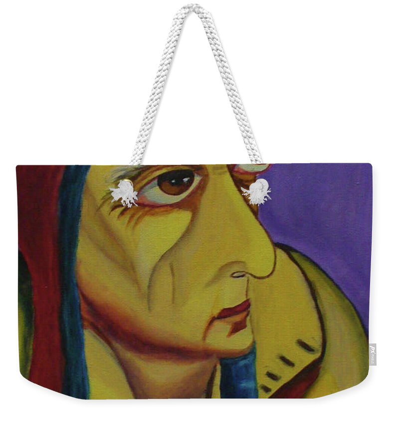 Old Man Weekender Tote Bag featuring the painting Looking For The Star by Natalia Lebed