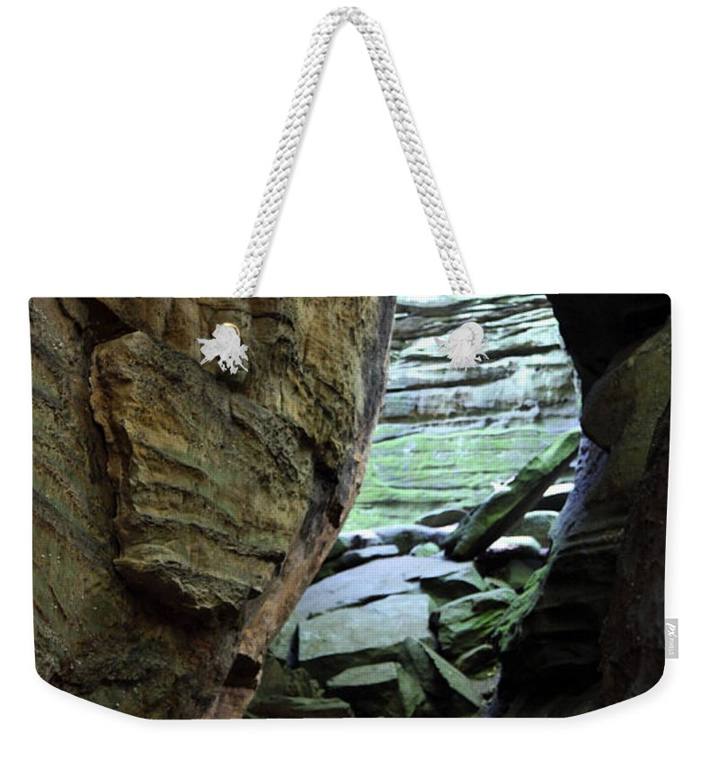 Faces Weekender Tote Bag featuring the photograph Looking Glass by Amanda Barcon