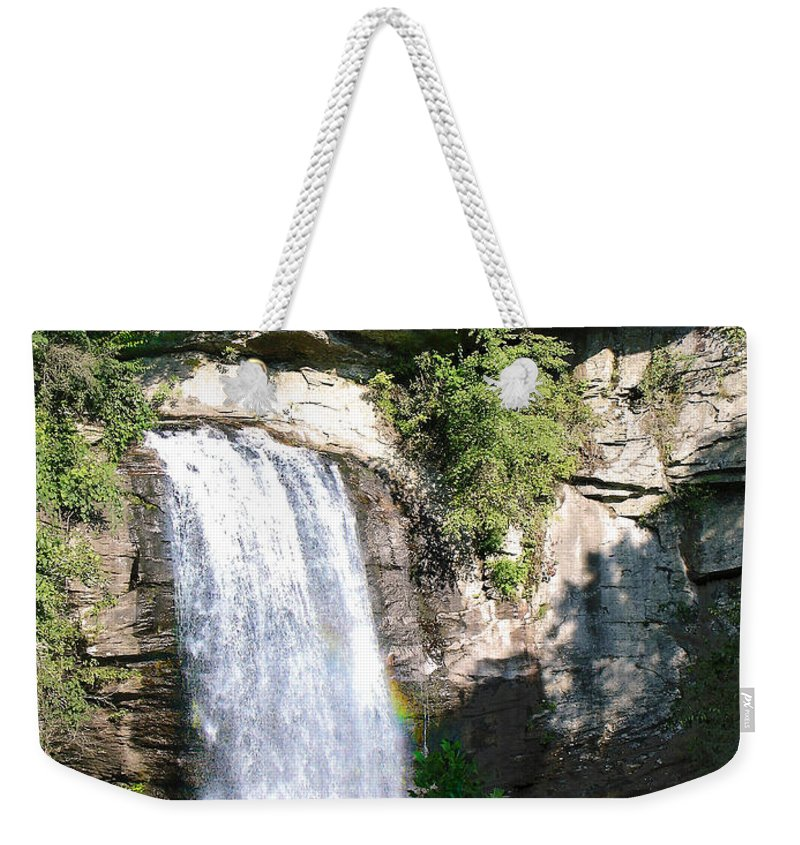Landscape Weekender Tote Bag featuring the photograph Looking Glass Falls Nc by Steve Karol