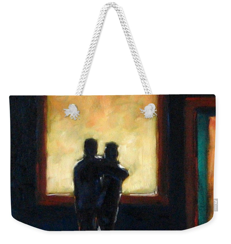 Town Weekender Tote Bag featuring the painting Looking In Looking Out Mini by Richard T Pranke