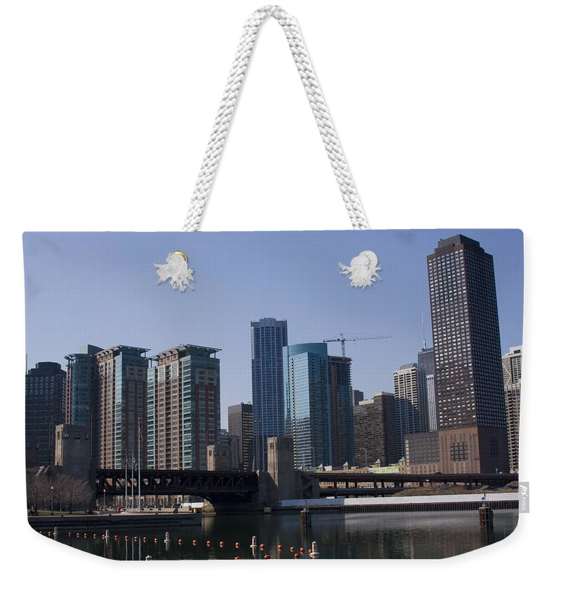 Chicago Windy City Building Tall High Big Skyscraper Water River Lake Michigan Blue Sky Metro Urban Weekender Tote Bag featuring the photograph Looking Into The City by Andrei Shliakhau