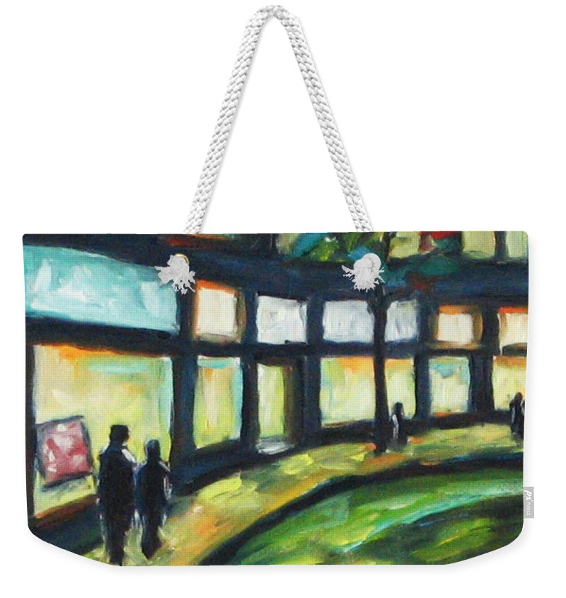Town Weekender Tote Bag featuring the painting Looking On by Richard T Pranke