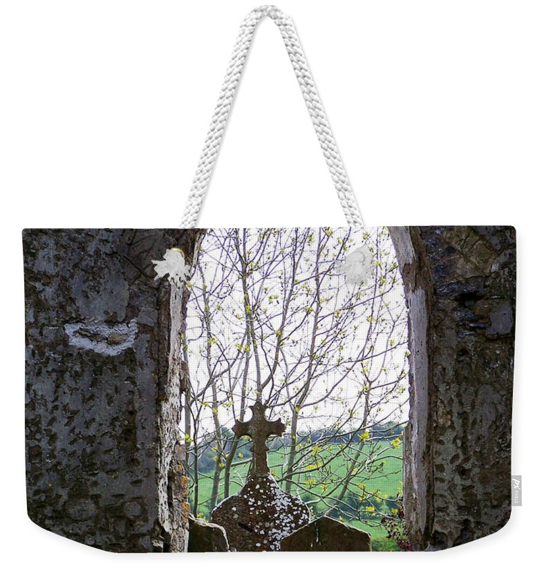 Ireland Weekender Tote Bag featuring the photograph Looking Out Fuerty Church Roscommon Ireland by Teresa Mucha