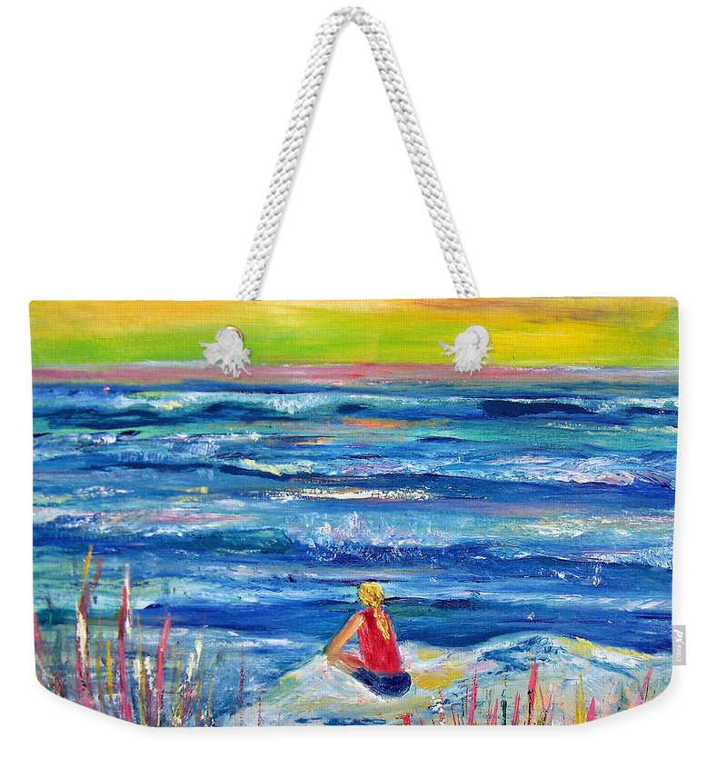 Ocean Weekender Tote Bag featuring the painting Looking Out by Patricia Taylor