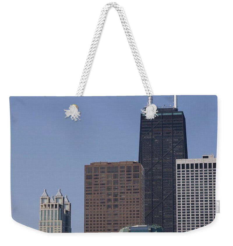 Chicago Windy City Building Skyscraper Tall Big High Metro Urban John Hancock Tower Center Weekender Tote Bag featuring the photograph Looking Over by Andrei Shliakhau