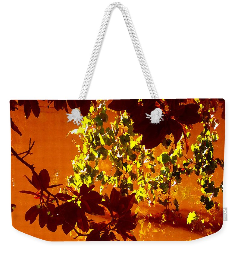 Landscapes Weekender Tote Bag featuring the painting Looking Through Leaves Into Pond by Amy Vangsgard