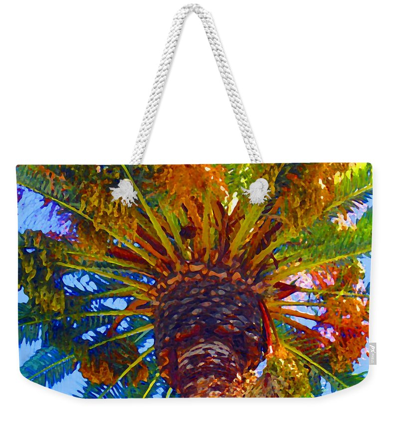 Garden Weekender Tote Bag featuring the painting Looking Up At Palm Tree by Amy Vangsgard