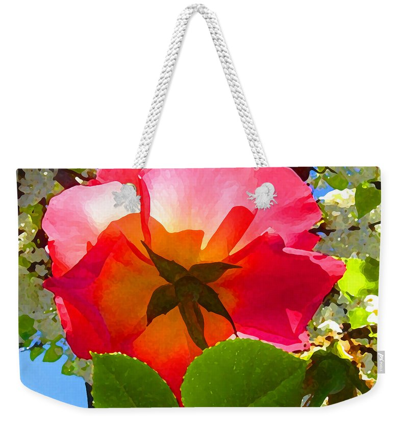 Roses Weekender Tote Bag featuring the photograph Looking Up At Rose And Tree by Amy Vangsgard
