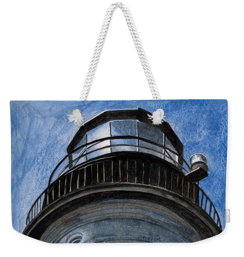 Lighthouse Weekender Tote Bag featuring the painting Looking Up Portland Head Light by Dominic White