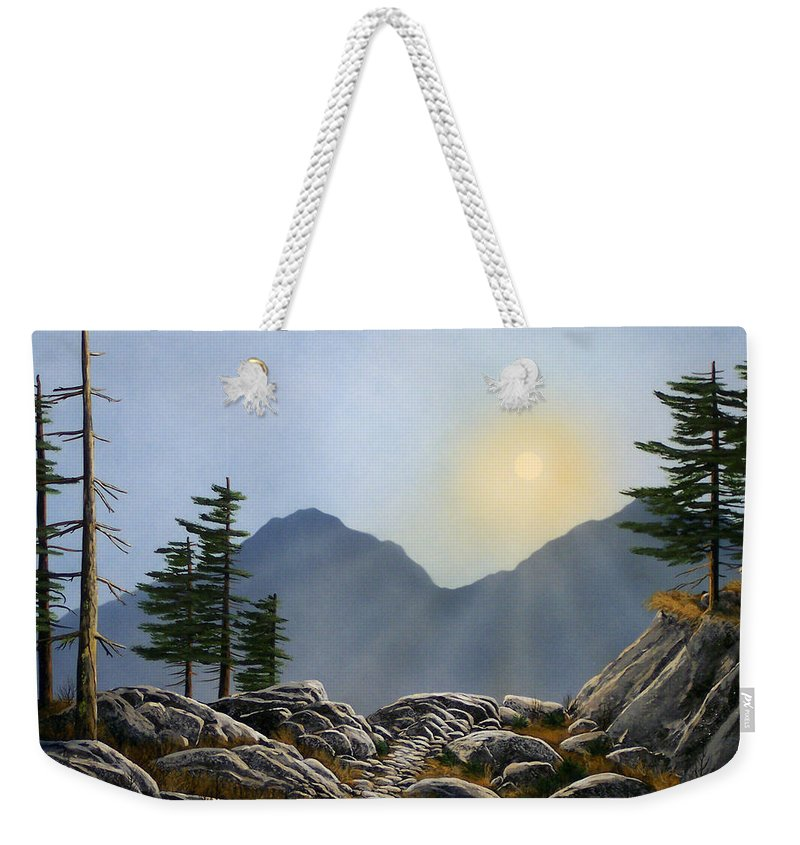 Landscape Weekender Tote Bag featuring the painting Lookout Rock by Frank Wilson
