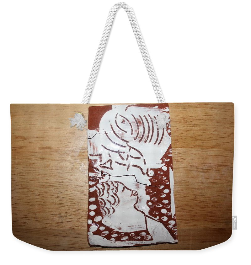 Mamamama Africa Twojesus Weekender Tote Bag featuring the ceramic art Lord Bless Me 1 - Tile by Gloria Ssali
