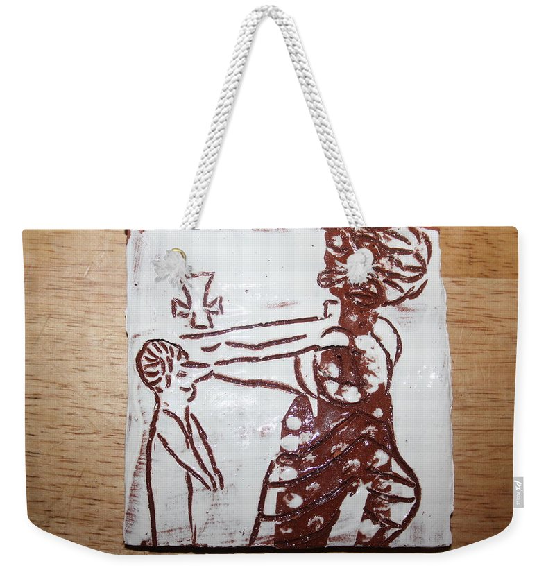 Mamamama Africa Twojesus Weekender Tote Bag featuring the ceramic art Lord Bless Me 10 - Tile by Gloria Ssali
