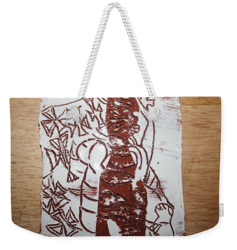 Mamamama Africa Twojesus Weekender Tote Bag featuring the ceramic art Lord Bless Me 11 - Tile by Gloria Ssali