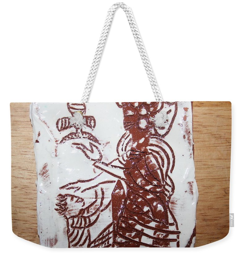Mamamama Africa Twojesus Weekender Tote Bag featuring the ceramic art Lord Bless Me 13 - Tile by Gloria Ssali