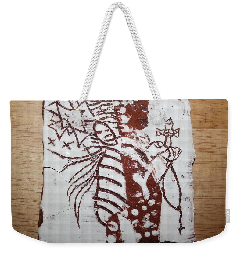 Mamamama Africa Twojesus Weekender Tote Bag featuring the ceramic art Lord Bless Me 14 - Tile by Gloria Ssali