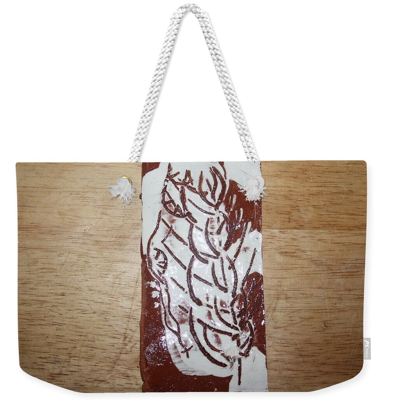 Mamamama Africa Twojesus Weekender Tote Bag featuring the ceramic art Lord Bless Me 15 - Tile by Gloria Ssali