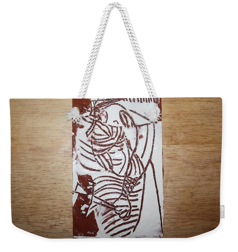 Mamamama Africa Twojesus Weekender Tote Bag featuring the ceramic art Lord Bless Me 16 - Tile by Gloria Ssali