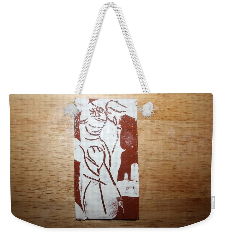 Mamamama Africa Twojesus Weekender Tote Bag featuring the ceramic art Lord Bless Me 2 - Tile by Gloria Ssali