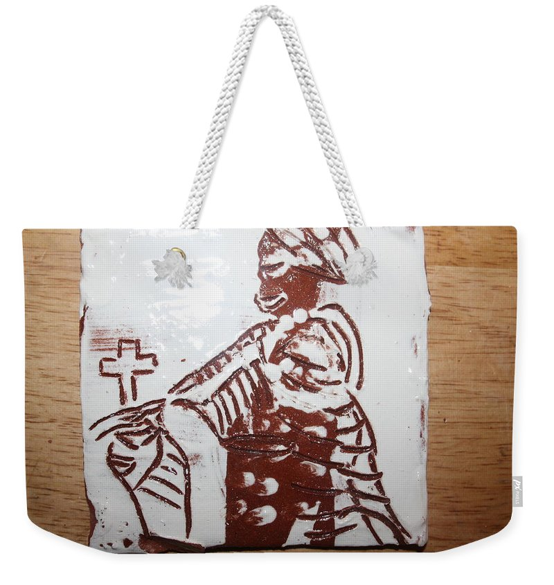 Mamamama Africa Twojesus Weekender Tote Bag featuring the ceramic art Lord Bless Me 21 - Tile by Gloria Ssali