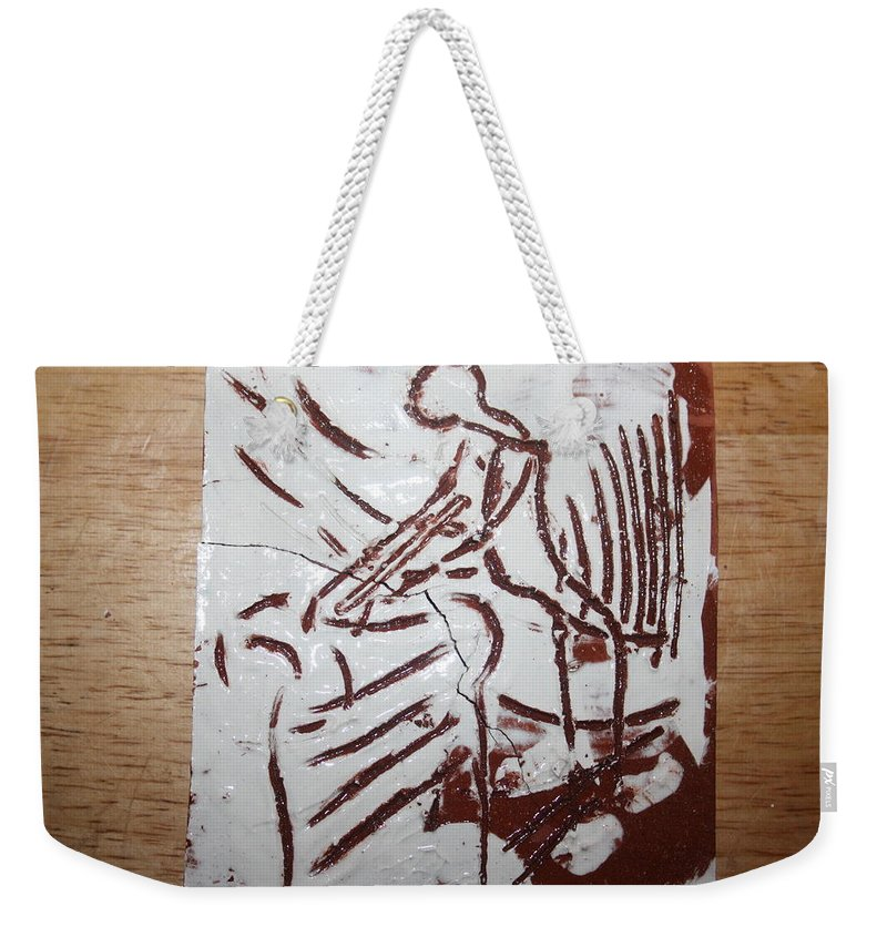 Mamamama Africa Twojesus Weekender Tote Bag featuring the ceramic art Lord Bless Me 5 - Tile by Gloria Ssali