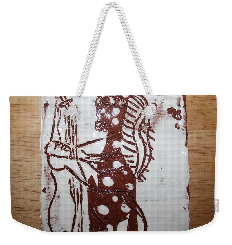 Mamamama Africa Twojesus Weekender Tote Bag featuring the ceramic art Lord Bless Me 6 Tile by Gloria Ssali