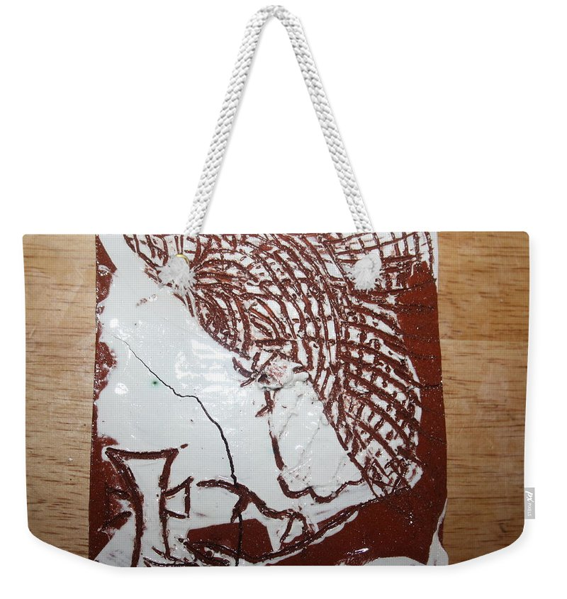 Mamamama Africa Twojesus Weekender Tote Bag featuring the ceramic art Lord Bless Me 7 - Tile by Gloria Ssali