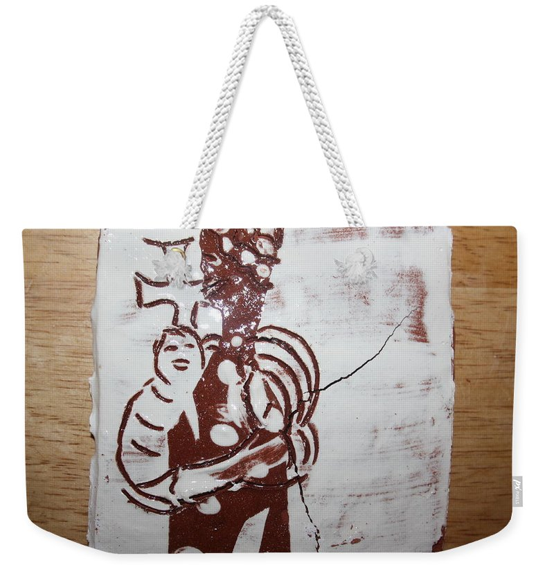 Mamamama Africa Twojesus Weekender Tote Bag featuring the ceramic art Lord Bless Me 8 - Tile by Gloria Ssali