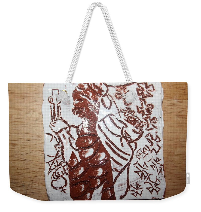 Mamamama Africa Twojesus Weekender Tote Bag featuring the ceramic art Lord Bless Me19 - Tile by Gloria Ssali