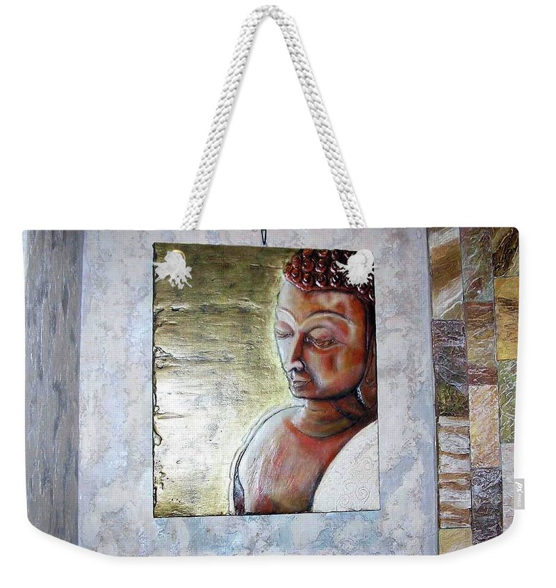 Buddha Weekender Tote Bag featuring the relief Lord Buddha by Constantin Sobaru