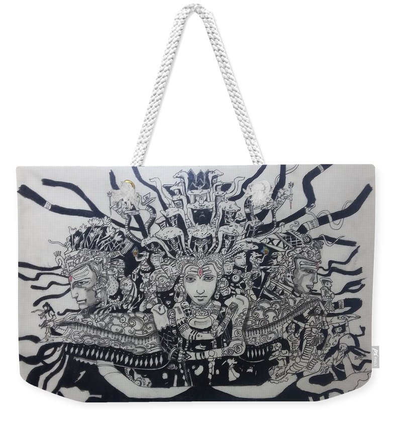 Lord Shiva's Three Faces Weekender Tote Bag featuring the drawing Lord Shiva by Kaustubh Vanarase