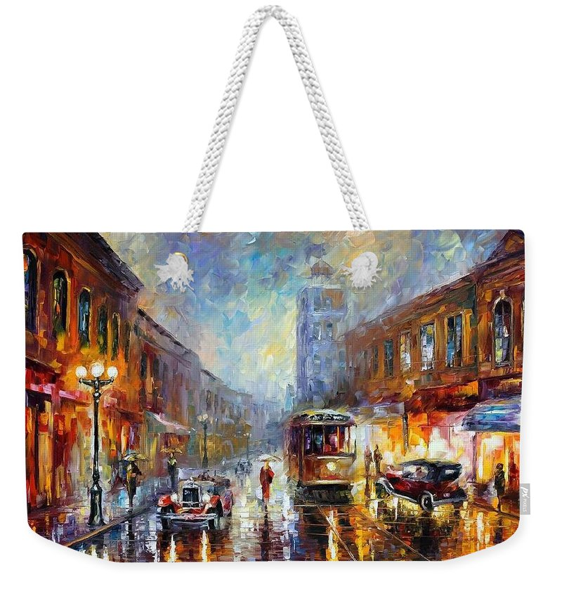 Afremov Weekender Tote Bag featuring the painting Los Angeles 1920 by Leonid Afremov