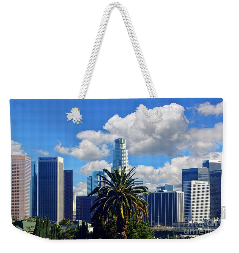 Los Angeles Weekender Tote Bag featuring the photograph Los Angeles And Palm Trees by Mariola Bitner