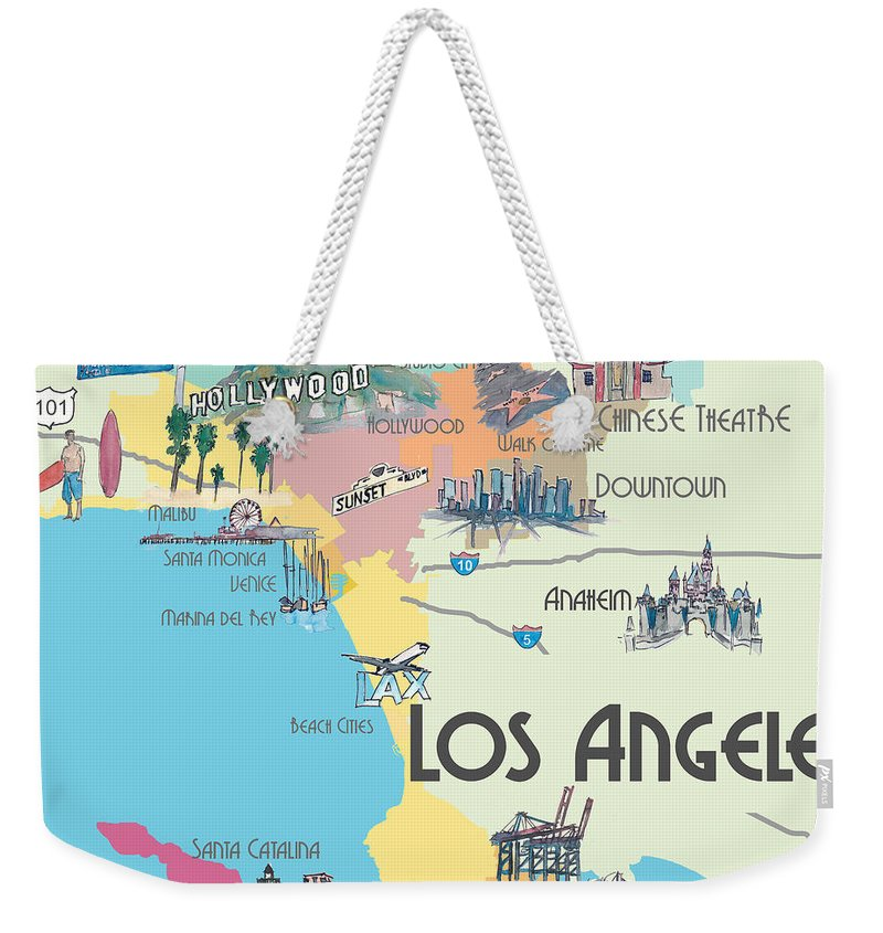 Map Of California La.Los Angeles California Map Of Greater L A With Highlights Weekender Tote Bag