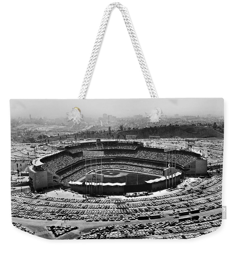 1962 Weekender Tote Bag featuring the photograph Los Angeles: Stadium, 1962 by Granger