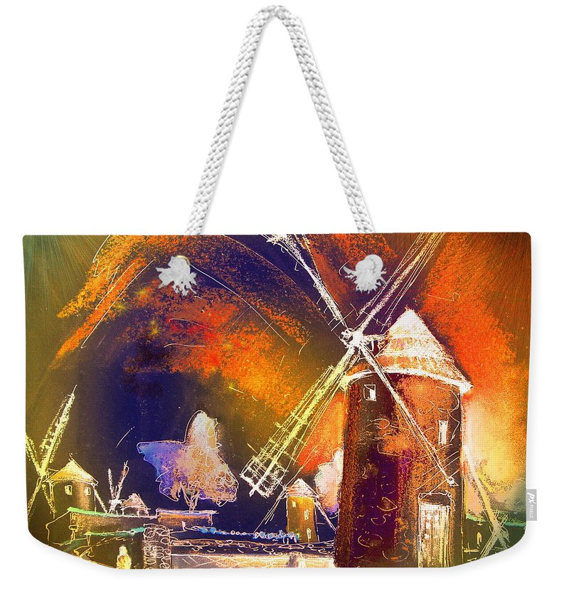Weekender Tote Bag featuring the painting Los Molinos Del Quijote 01 by Miki De Goodaboom