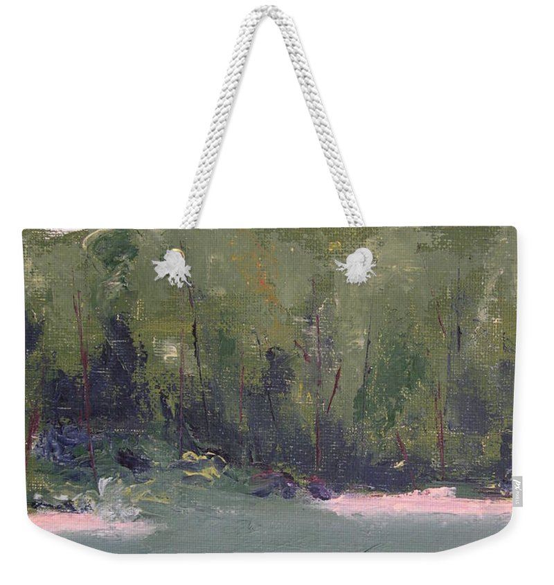 Beach Weekender Tote Bag featuring the painting Lost Beach by Patricia Caldwell